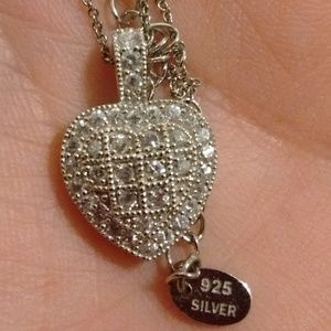 Checkered Sterling Silver CZ Heart Necklace